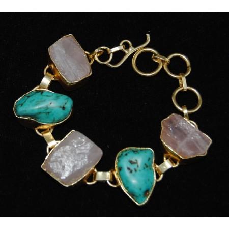 Rose Quartz and Turquoise Gemstone Bracelet