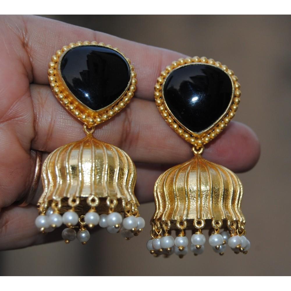 6122159fa7d Black Melanite Garnet Heart Semi-precious 18K Gold Plated Jhumka ...