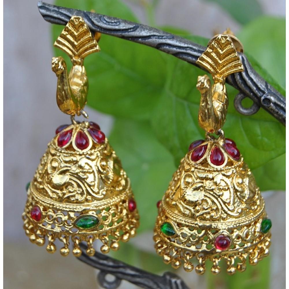 Peacock Ruby Emeralds Gold Jhumkas