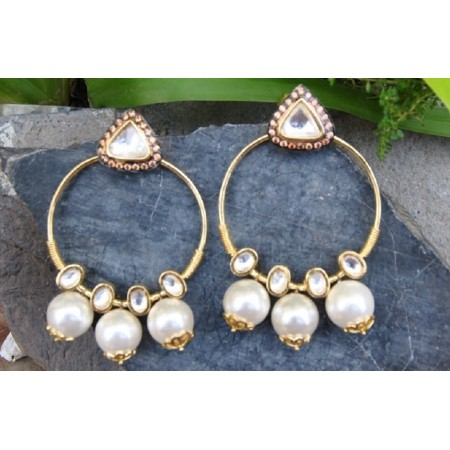 Uncut Diamond Bali Earrings with Dangling Pearls