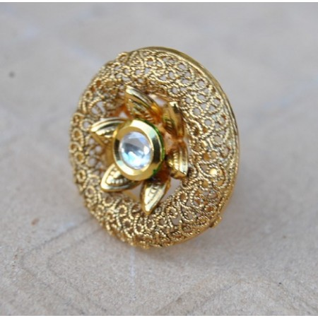 Intricately Designed Cocktail Finger Ring Studded with Kundan