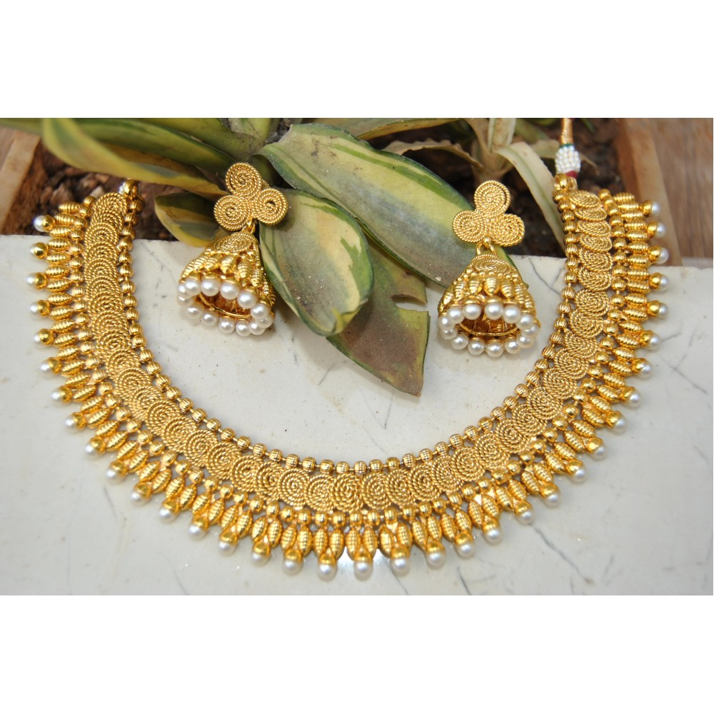 Spiral Gold Plated Ethnic Necklace Set with Jhumkas