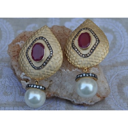Ruby Studded Gold Dangler Earrings with Pearl Drop