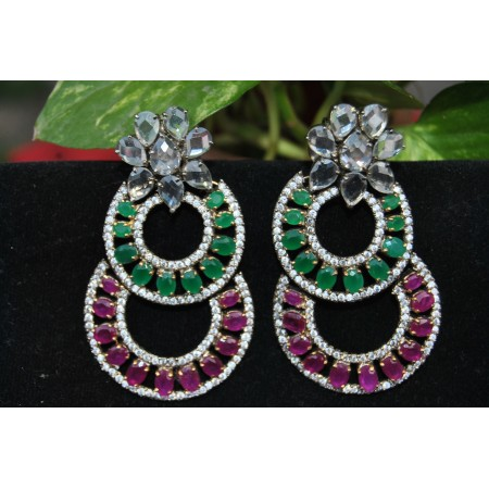 American Diamond Studded Emerald and Ruby Dangler Earrings