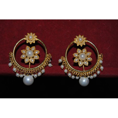 Punjabi Pearl Sunflower Bali Hoop Earrings