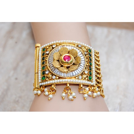Multicolor Golden Floral Cuff Bracelet with Pearls and White Crystals