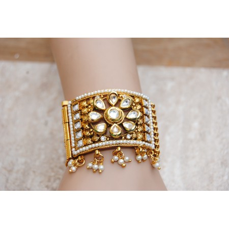 Floral Cuff Bracelet with Kundan and White Crystals