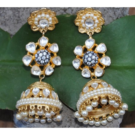 Floral Pearl Kundan Gold Jhumka Earrings