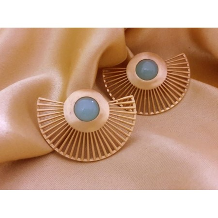 Golden Sky Blue Chalcedony Ear Jackets