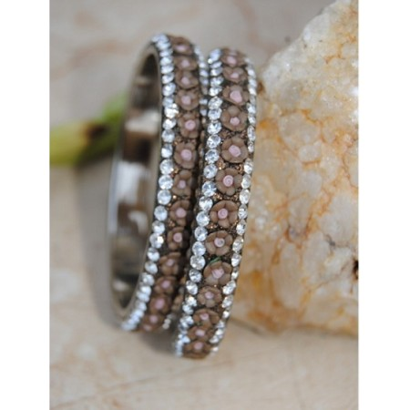Floral Brown Ceramic  Diamond Bangles