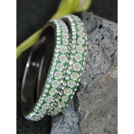 Floral Ceramic Green Diamond Bangles