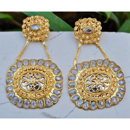 Uncut Diamonds Gold Plated Danglers