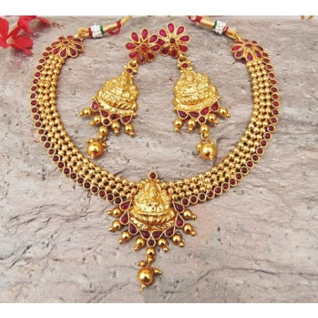Lakshmi Red Kemp Temple Necklace Set