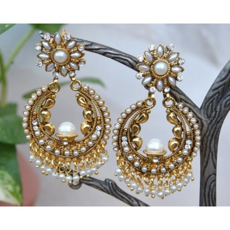 Pearly White And Gold Floral Chand Bali