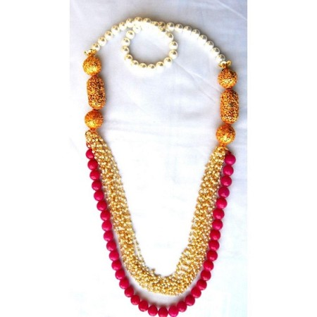 Pearl Pink Onyx Necklace