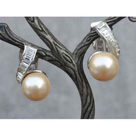 Baguette Diamonds with Pearl Drop Stud Earrings