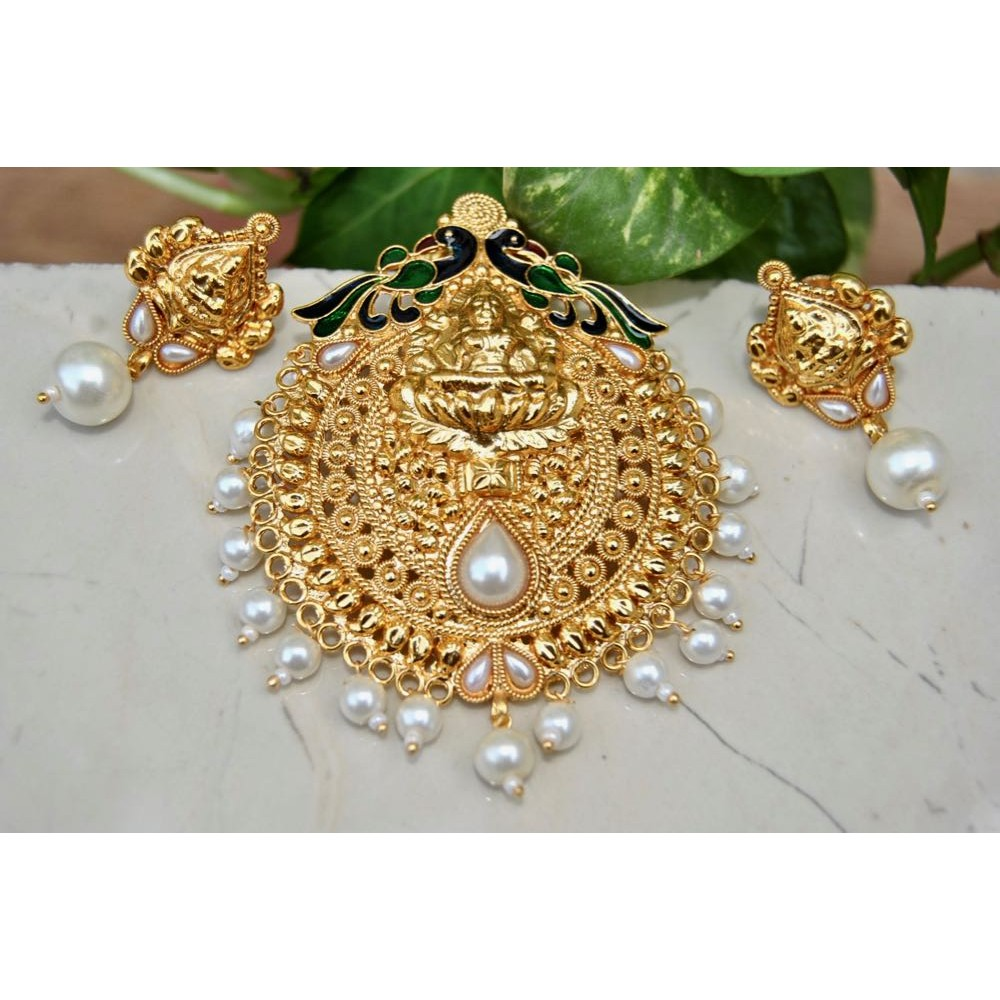 Ethnic indian temple jewellery golden carved meenakari lakshmi peacock pearl pendant set aloadofball Choice Image