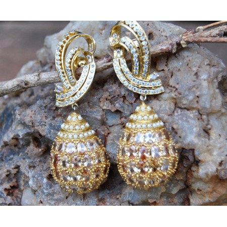 Champagne Diamond Studded Drop Dangler Earrings