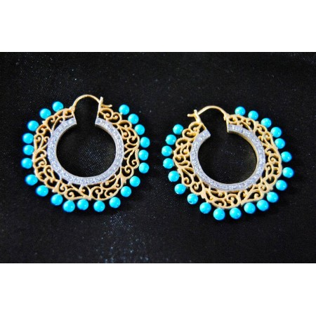 Turquoise Diamond Bali Hoop Earrings