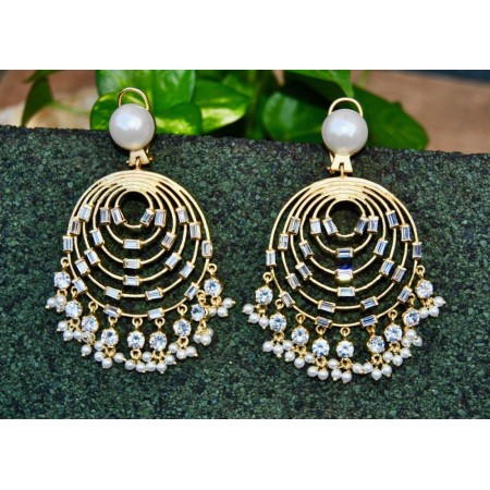 Golden Chand Bali Earrings Studded with Baguette Diamonds