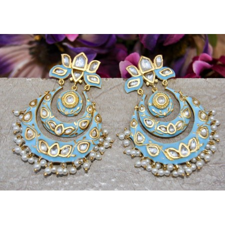 Sky Blue Chand Bali Earrings Studded with Polki Diamonds