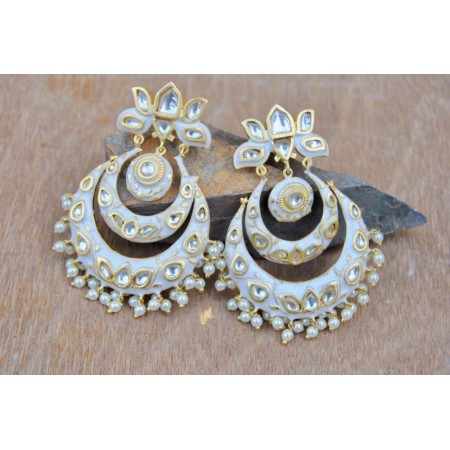 White Chand Bali Earrings Studded with Polki Diamonds