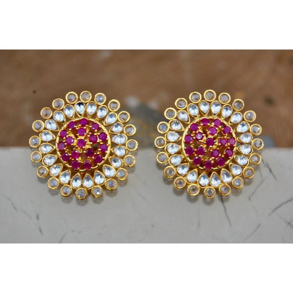 e739158c68297 Rubies and Polki Diamond Stud Earrings