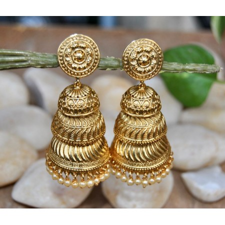 Triple Layer Designed Golden jhumkas
