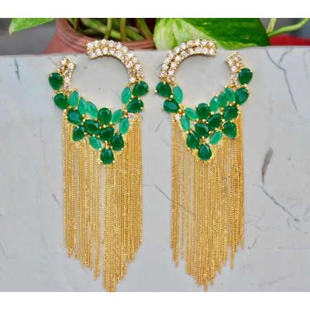 American Diamond Studded Emerald Dangler Earrings