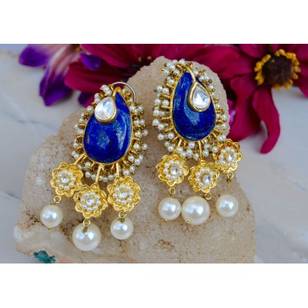 Sterling Silver Lapis Lazuli Ethnic Earrings with Pearls
