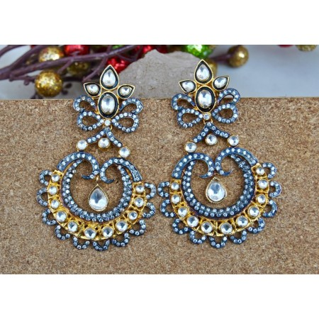 Two Tone Sterling Silver Kundan Earrings