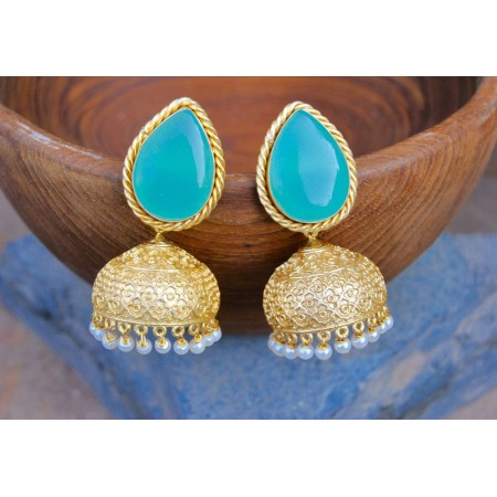 Aqua Chalcedony Paan Semi-precious 18K Gold Plated Jhumka Earrings