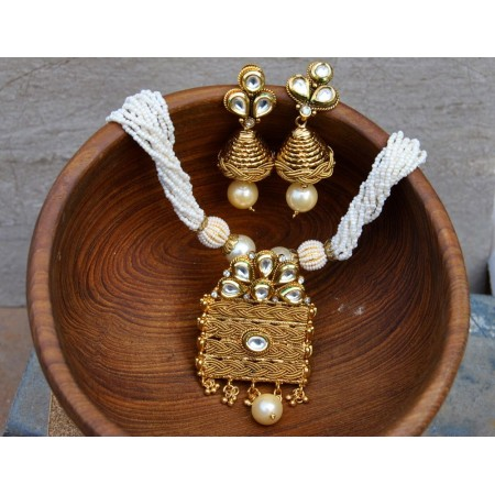 Antique Gold Pendant Set with Moti Bead Mala