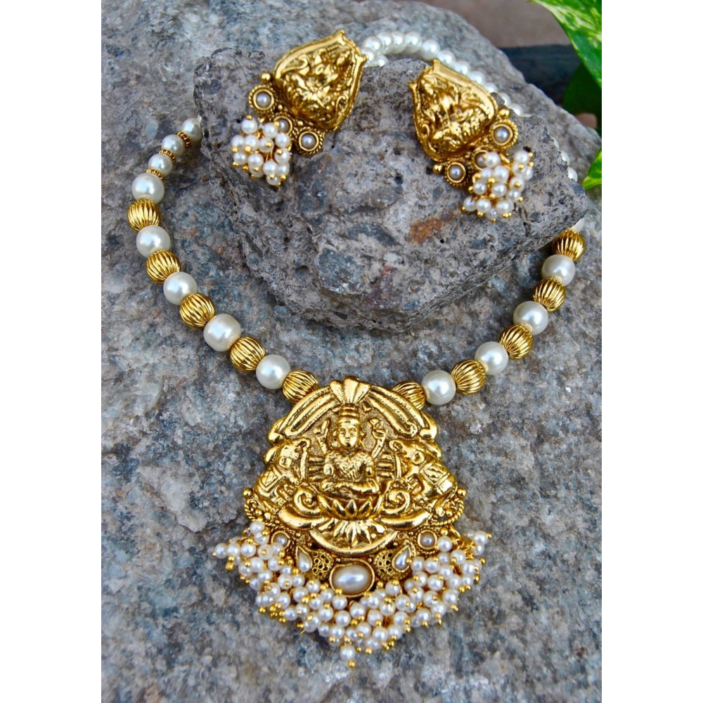 Bunched pearl laxmi south indian necklace set with pearl mala aloadofball Gallery