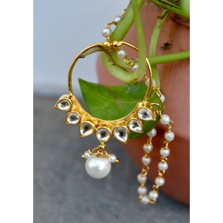 Kundan Nose Ring with Pearl Drop