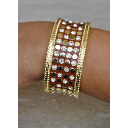 Gold Plated Brown Enamel Cuff Bracelet with Crystals