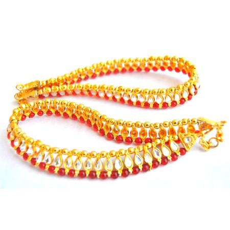 Red Kundan Payal