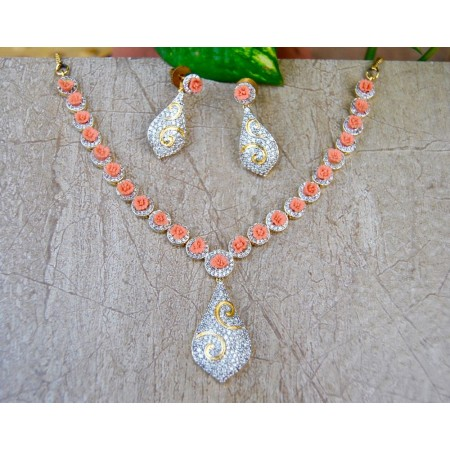 American Diamond Necklace Set with Peach Coral Roses