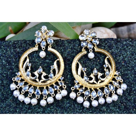 Exquisite Peacock Gold Chand Bali Organic Diamond Earrings