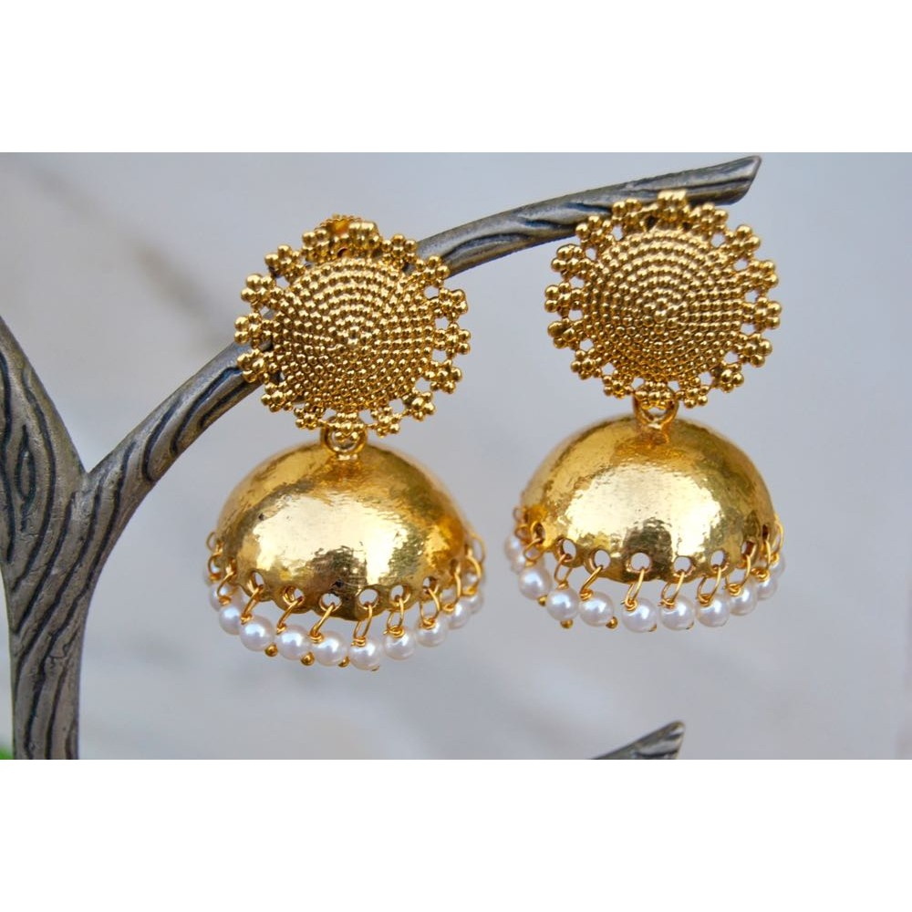 in yellow s women tash gold earring maria ball trinity lyst stud three jewelry metallic large