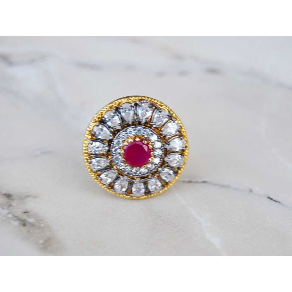 Diamond Finger Ring with Ruby