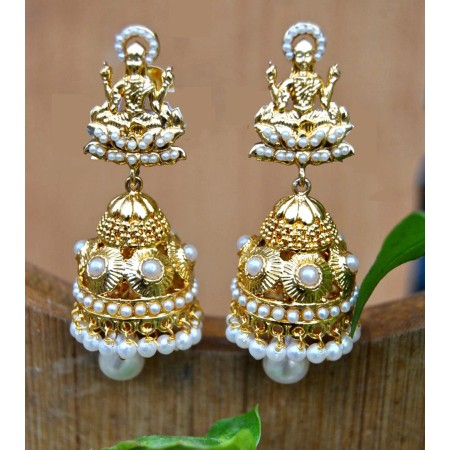 Gold Plated Goddess Pearl Jhumka Earrings