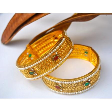 Traditional Ethnic Gold Kada Bangle with Pearls