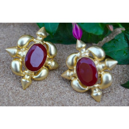 Antahpura Red Chalcedony Stud Earrings