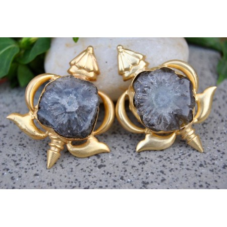 Akupara Grey Agate Stud Earrings
