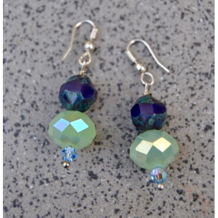Sea Foam Silver Dangler Earrings