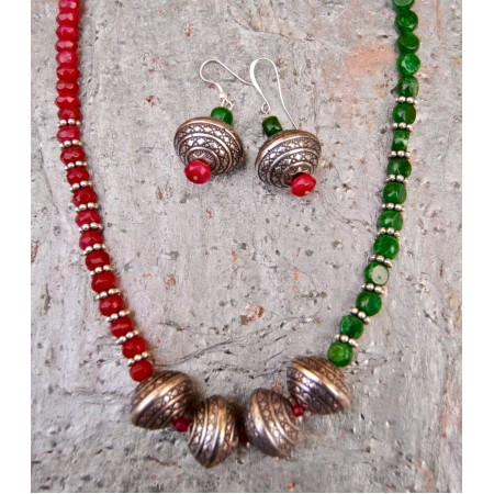 Rubylite and Jade Ethnic Accents Necklace Set with Silver Beads