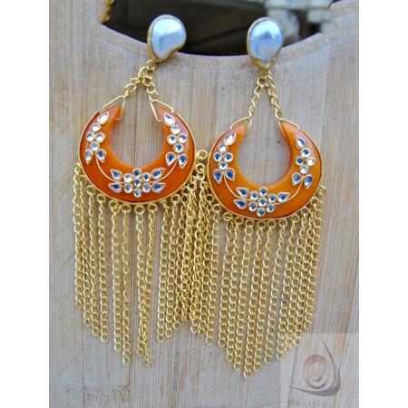 Orange Kundan Chand Bali Earrings with Gold Chain Cascade