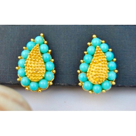 Pastel Blue Leaf Stud Earrings