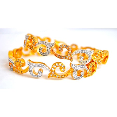 Deep Gold Diamond Bangles